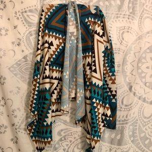 Teal & Brown Tribal Aztec Print Cardigan Sweater